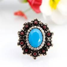 Shop Elegant Women Flower <b>Vintage</b> Rings <b>Antique</b> Gold Color <b>Big</b> ...