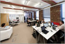 office large size peaceful and creative office space idea with white tables exposed brick wall brick office furniture