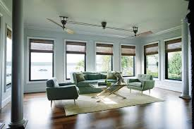 medford lake home example of a minimalist living room design in other with white walls ceilings fans bedroom decor ceiling fan