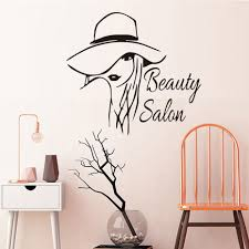 Beautiful Lady Styling <b>Vinyl Wall Sticker Beauty</b> Salon Removable ...
