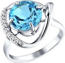 Серебряное кольцо <b>SOKOLOV</b> 92010554_s с топазом, фианитами
