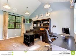 blue modern home office with dark brown furniture stock image regarding home office blue blue brown home office