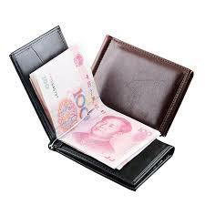 <b>Men Wallet</b> Leather <b>Thin Billfold</b> Money Clips <b>Mens Slim</b> Clamp For ...
