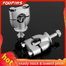 Silver 1 Riser <b>22mm</b> Bar For Clamp ATV <b>Mount Mounting</b> Pair ...