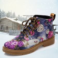 <b>Size 35-42</b> Women Boots <b>2018</b> Floral Printed Martin Boots Soft Sole ...