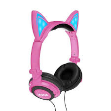 Wired Adjustable Headphone Girl <b>Cat Ear</b> LED <b>Bluetooth Headset</b> ...