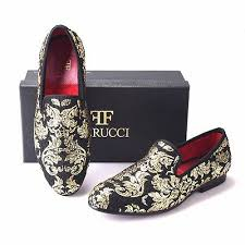 Men FERUCCI <b>Black</b> Slippers Loafers Flat With <b>Gold</b> Chinese Bird ...