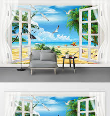 <b>Personalized custom</b> modern <b>sea view</b> living room bedroom wall ...