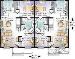Multi family plan W detail from DrummondHousePlans com    st level bedroom  European semi detached   open concept floor plan   Stapleton