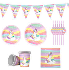 FENGRISE Rainbow <b>Unicorn Disposable</b> Tableware <b>Unicorn</b> ...
