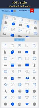 ios7 style line icons vector psd 100 icons basic icons flat icons 1000