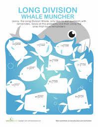 Long Division Worksheets & Free Printables | Education.comWorksheet. Long Division: More Whale Munching