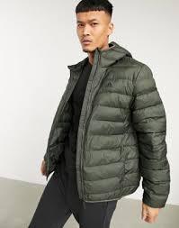 Зеленый демисезонный пуховик с капюшоном <b>adidas</b> Outdoor ...