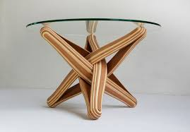 lock is a bending twisting coffee table made out of layered multi colored bamboo bamboo furniture designs