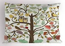 MTDKX Animals Pillow Sham by, Retro Style <b>Tree</b> with <b>Flowers</b> ...