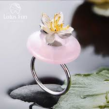Lotus Fun Real <b>925 Sterling Silver Natural</b> Topaz Stone Creative ...