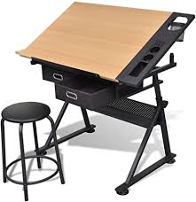 vidaXL <b>Tiltable Tabletop Drawing</b> Table with Stool Home Office ...