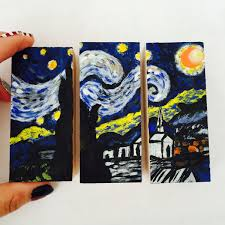 mini starry night triptych