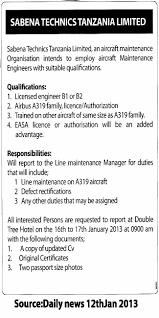 maintenance engineer tayoa employment portal job description