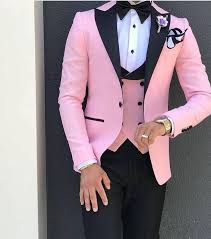 Pink With Black Lapel Suits for Men <b>Custom Made 3 Piece</b> Suit ...