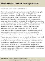 top  stock manager resume samples