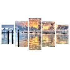 Bruce Bain 'Calm Waters' 5-Piece <b>Canvas</b> Wall <b>Art</b> Set ...