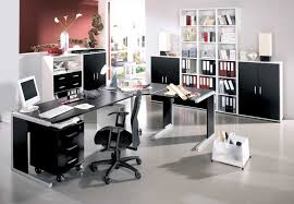 decoration modern home office design ideas with white and black office furniture sets black and white office design