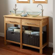making bathroom cabinets: bathroom brown wooden bathroom vanity with shelf and black rattan basket added by double glass