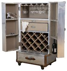 leandro rolling storage steamer wine cabinet industrial wine and bar cabinets bar trunk furniture