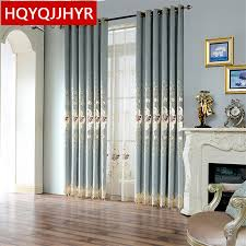 top european luxury light blue velvet embroidered curtains for villa living room upscale hotel bedroom window decoration