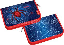 <b>Erich Krause Пенал</b>-книжка с наполнением Spider 18 предметов ...