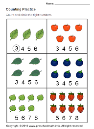 Free Preschool Counting Practice Math Worksheets
