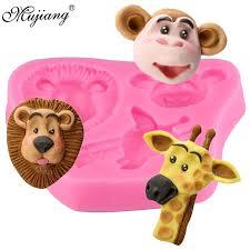 Lion <b>Giraffe</b> Monkey Animal Silicone Mold <b>Candy Chocolate</b> ...