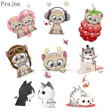 Prajna Cute <b>Cat Patch Iron On Transfers</b> For Kids Clothes Plastisol ...