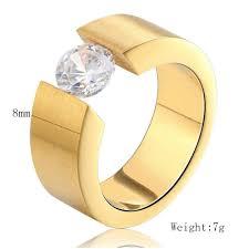 Luxury <b>Round CZ Zircon</b> Ring for Men Women <b>Black</b> Gold Silver ...