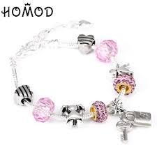 <b>HOMOD Romantic Love DIY</b> Charm Bracelet Love Heart Key And ...