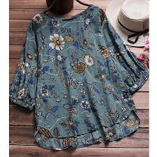 Women Blouse <b>Plus Size Floral</b> Cotton <b>Linen</b> Half Sleeve Casual ...