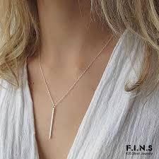 <b>F.I.N.S</b> Minimalist Choker Necklace Pendant Silver <b>925</b> Jewelry Tiny ...