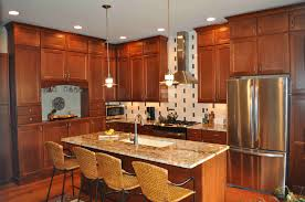 Small Picture Simple Natural Cherry Kitchen Cabinets Painted Walls And Images