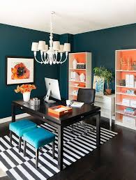 orange combined with other bright hues gives this home office a bold and sensational look brightly colored offices central st