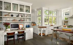 kitchen cabinets home office transitional: butcher block desk kitchen farmhouse with built in desk butcher