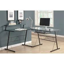 monarch black metal l shaped computer desk with tempered glass black metal computer desk