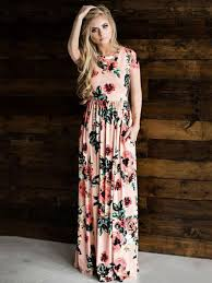 Women's Maxi Dresses Flora <b>Print Short Sleeve Summer</b> Long Dress