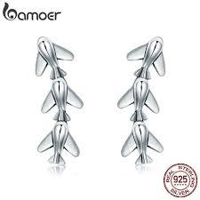 BAMOER <b>100</b>% <b>925 Sterling Silver</b> Stackable Plane Drop Earrings ...