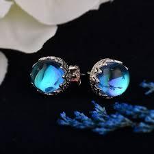 MosDream Blue Round Crystal Stud Earring 100% <b>s925</b> silver Wave ...