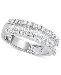 Macy's Diamond Baguette Cluster Band (<b>1 ct</b>. t.w.) in <b>14k White Gold</b> ...