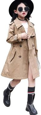 Girls Classic Double Breasted <b>Trench Jacket</b> Coat <b>Spring</b> Fall