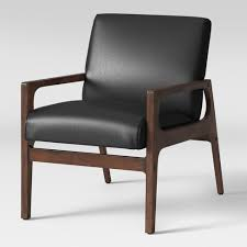Peoria Wood Arm <b>Chair Black Faux Leather</b> - Project 62™ : Target