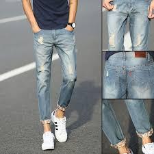 High-Quality <b>Ripped Skinny</b> Biker Jeans Destroyed Frayed <b>Slim men</b>