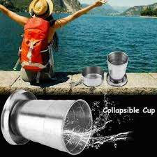 Stainless Steel <b>Portable Outdoor Travel Folding</b> Collapsible Cup ...